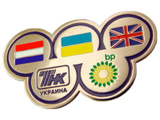 Metal badges with company logo